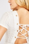 Lace Up Embroidered Cotton Playsuit