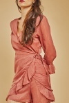 Metallic Chiffon Wrap Ruffle Dress
