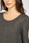 Encrusted Trim Knit Top
