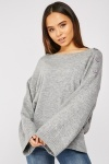 Flared Sleeve Knitted Jumper
