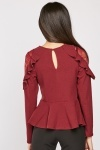 Lace Trim Ruffle Peplum Top