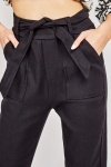 Belted Tapered Trousers In Black