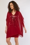 Sequin Chiffon Overlay Dress