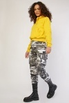 Camo Print Gathered Ankle Trousers