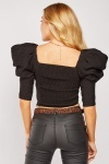 Balloon Sleeve Crinkled Crop Blouse