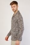 Shawl Collar Front Speckled Jumper
