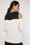 Two Tone Cut Out Sleeve Hoodie