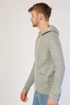 Cable Knit Panel Hooded Cardigan