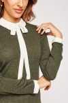 Frilly Collar Jersey Knit Top