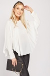 Circular Pleated Batwing Sleeve Blouse
