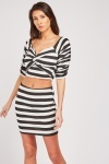 Twisted Front Striped Top And Skirt Set