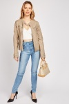 Pocket Trim Faux Leather Jacket