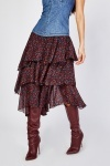 Asymmetric Side Tiered Skirt