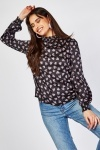 High Neck Printed Blouse