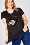Sequin Rose Front Top