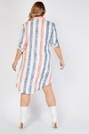 Striped Dip Hem Shirt Dress