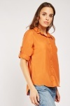 Adjustable Sleeve Plain Shirt