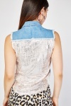 Printed Raw Edge Denim Gilet