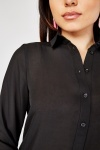 Sheer Chiffon Black Shirt