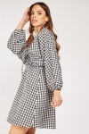 Tie Up Front Mini Gingham Dress