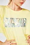 Metallic Logo Oversized Top