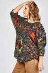 Keyhole Front Batwing Blouse