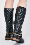 Quilted Buckled Chained Boots