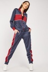 Colour Block Zip Up Sport Jacket And Joggers Set