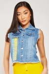 Encrusted Print Denim Gilet