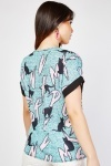 Tie Up Neck Cat Print Top