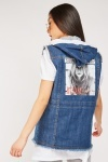 Hooded Printed Back Denim Gilet