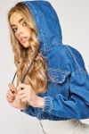 Hooded Denim Crop Jacket