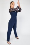 Laced Full Sleeve Contrasted Jumpsuit