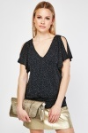 Speckled Shimmery Pattern Cold Shoulder Top