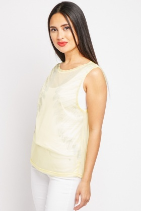 Metallic Print Sheer Top