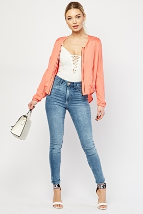 Chiffon Back Zip Up Jacket