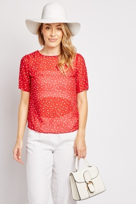 Sheer Chiffon Polka Dot Top