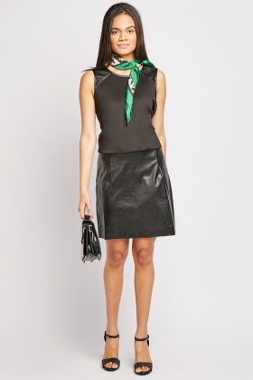 Contrast Faux Leather Dress