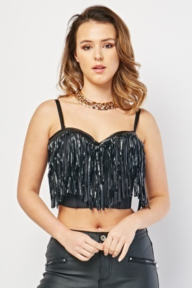 Fringed Front Bustier Crop