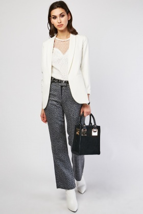 Wool Blended Belted Trousers