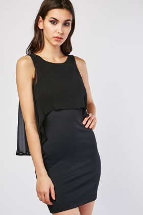 Chiffon Overlay Bodycon Dress
