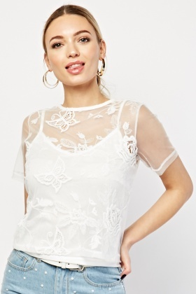 Embroidered Mesh Overlay Top