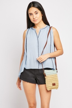 Sleeveless Stitched Crinkled Top