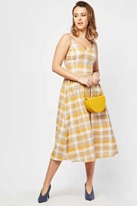 Button Front Midi Gingham Dress