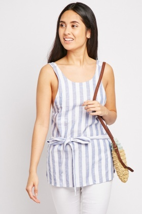 Belted Stripe Top