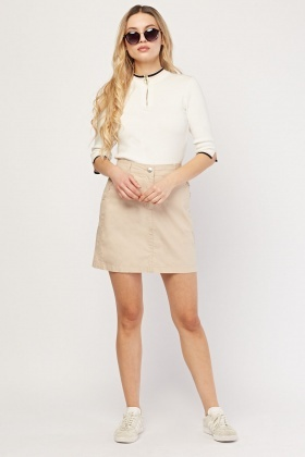 Ruffle Pocket Trim Mini Skirt