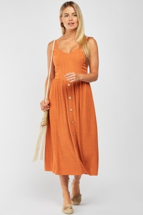 Button Trim Mix Linen Dress