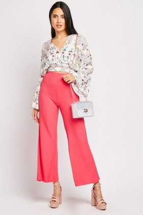 Striped Flared Leg Ribbed Trousers