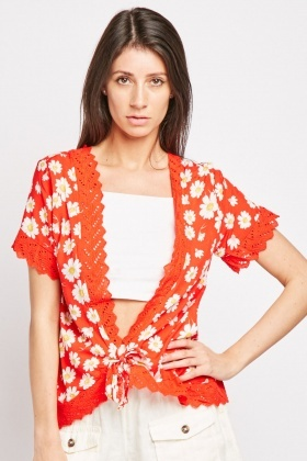 Tie Up Back Daisy Print Top