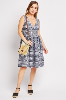 Sleeveless Tribal Print Wrap Dress